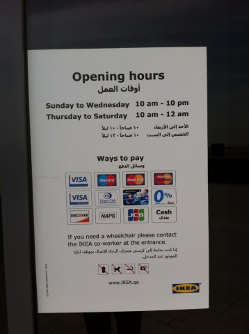 IKEA Qatar Calisma Saatleri